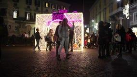 Naples, crowd in Via dei Tribunali stock video