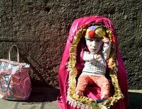 Naples,curiosity,artist,actor. Naples. Street artist . Imitation doll on toledo street.Generate a lot of curiosity in passersby Stock Image