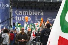 Naples- De Luca for President. Italy-Naples- De Luca for President- The demonstration for the election of Vincenzo De Luca for President of the Region Campania stock photo