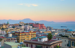 Naples at dusk, Italy. View of Old Town of Naples at colorful dusk. Italy Stock Photos