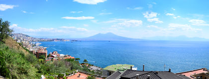 Naples with famous Mount Vesuvius in the background, Campania, Italy Stock Photography
