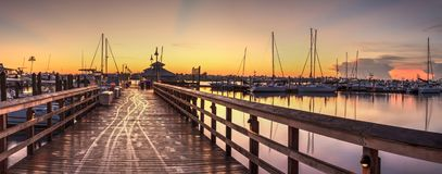 Sunrise over Naples City Dock in Naples, Florida. royalty free stock image