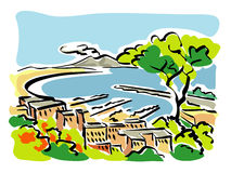 Naples (Gulf of Naples). Illustration of the Gulf of Naples Royalty Free Stock Images