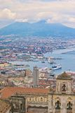 Naples harbor and Mount Vesuvius royalty free stock image