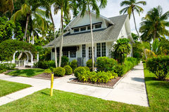 Naples home. Naples, Florida USA - July 28, 2015: Typical vintage wood frame architecture style home in the coastal residential historic district of Naples Stock Photo