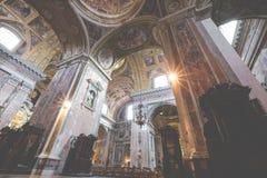 NAPLES ITALIEN, DECEMBER 02,2017: Härligt tak ovanför Gesu N Fotografering för Bildbyråer
