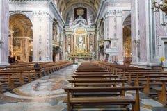 NAPLES ITALIEN, DECEMBER 02,2017: Härligt tak ovanför Gesu N Arkivbilder