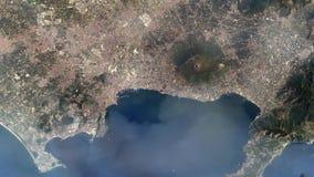 Naples Italien från utrymme Beståndsdelar av denna avbildar möblerat av NASA arkivfilmer