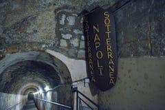 Naples ITALIEN - JUNI 01: Naples forntida underjordiska gallerier på Naples, Italien på Juni 01, 2016 Royaltyfri Fotografi