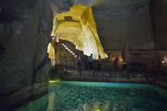 Naples ITALIEN - JUNI 01: Naples forntida underjordiska gallerier på Naples, Italien på Juni 01, 2016 Arkivbilder