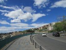 Naples Italien, vägen längs golfen av Naples Sydlig himmel, medelhavs- klimat royaltyfri bild