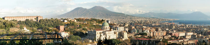 Naples, Italy. Panorama of the city of Naples in Italy with Mt.Vesuvius in the back Stock Photography