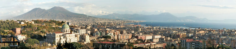 Naples, Italy. Panorama of the city of Naples in Italy with Mt.Vesuvius in the back Royalty Free Stock Images
