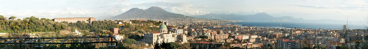 Naples, Italy. Panorama of the city of Naples in Italy with Mt.Vesuvius in the back Stock Photos