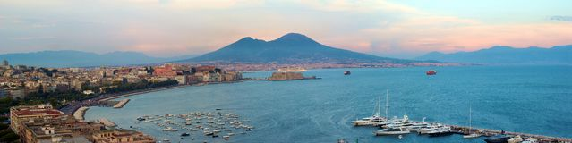 Naples, Italy. High resolution Panorama of Naples, Italy. The bay and the Mount Vesuvio Stock Photos