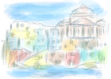 Naples italy. Abstract illustration of city on multicolor background Royalty Free Stock Image