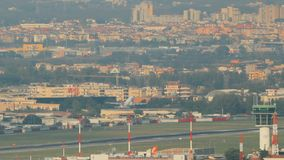 Naples, Italy. Aircraft plane take off from Naples International Airport stock video footage
