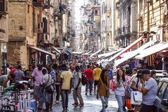 NAPLES, ITALY - AUGUST 22: Porta Nolana Market in Naples on AUGUST 22, 2017. Local People Shopping at Sunday Street stock image