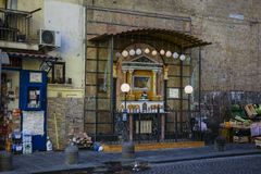 Colorful, lovely, Naples chapel with Saint Mary, - Italy. stock photo