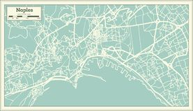 Naples Italy City Map in Retro Style. Outline Map. Vector Illustration Royalty Free Stock Images