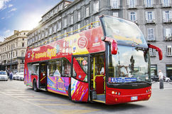 NAPLES, ITALY,  Citysightseeing bus. Citysightseeing bus on a bus stop in Naples Italy Royalty Free Stock Photos