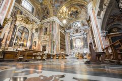 NAPLES, ITALY, DECEMBER 02,2017 : Beautiful ceiling above Gesu N. Uovo Italian: New Jesus church in Naples, Italy Royalty Free Stock Image