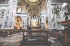 NAPLES, ITALY, DECEMBER 02,2017 : Beautiful ceiling above Gesu N. Uovo Italian: New Jesus church in Naples, Italy Royalty Free Stock Photo