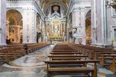 NAPLES, ITALY, DECEMBER 02,2017 : Beautiful ceiling above Gesu N. Uovo Italian: New Jesus church in Naples, Italy Stock Images