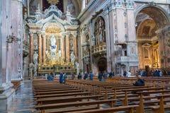NAPLES, ITALY, DECEMBER 02,2017 : Beautiful ceiling above Gesu N. Uovo Italian: New Jesus church in Naples, Italy Stock Photos