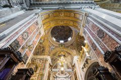 NAPLES, ITALY, DECEMBER 02,2017 : Beautiful ceiling above Gesu N. Uovo Italian: New Jesus church in Naples, Italy Stock Photography