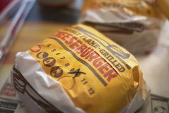 Cheese burgers package royalty free stock photography