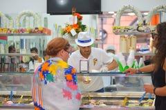Naples, ITALY - JUNE 01: Female tourist buying icecream in Naples, Italy on June 01, 2016 Stock Photo