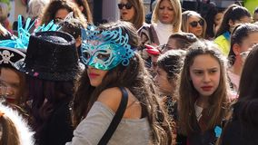 Naples, Italy - March 1, 2019. Carnival parade. With dressed up children laughing and dancing stock video footage
