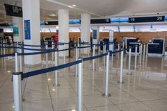 NAPLES, ITALY - 04 November, 2018. Check-in Desk in international aeroport of Naples stock photography