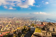 Naples aerial panoramic view of the city and the gulf stock photos