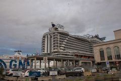 NAPLES, ITALY - 04 November, 2018. MSC Seaview Cruise Ship, Port of Napoli royalty free stock photography