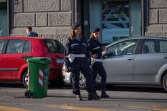 NAPLES, ITALY - 04 November, 2018. women cops on the street of naples stock photo