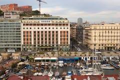 NAPLES, ITALY - OCTOBER 31, 2015: Air view of the Albergo Vesuvio Hotel and Grand Hotel Santa Lucia in historical center of Naples. Air view of the Albergo stock photo