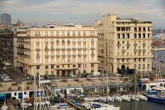 NAPLES, ITALY - OCTOBER 31, 2015: Air view of the Grand Hotel Santa Lucia and Hotel Excelsior in historical center of Naples. Air view of the Grand Hotel Santa stock images