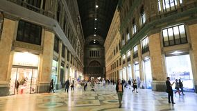 Naples, Italy - October 16, 2018: Interior Of Galleria Umberto I stock video footage