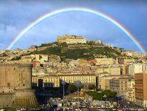 Naples Italy. Rainbow and golden sunlight over Naples, Italy Stock Photography