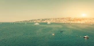 Naples, Italy, Sailboats in the Bay Royalty Free Stock Photos
