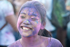 Naples, Italy, September 12 2015: Holi Festival of colors. A par Stock Photo