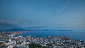 Naples, Italy. Top View Skyline Cityscape In Evening Lighting. Tyrrhenian Sea And Landscape With Volcano Mount Vesuvius