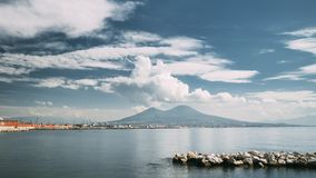 Naples, Italy. Volcano From Area Of Santa Lucia In Naples. Landscape With Mount Vesuvius And Tyrrhenian Sea In Summer