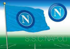 NAPLES, ITALY, YEAR 2017 - Serie A football championship, 2017 flag of the Napoli team Royalty Free Stock Photography