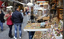Street famous for its artisan shops selling nativity displays in Naples, Italy royalty free stock photography