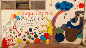 Naples juridiskt psykiatriskt sjukhus för murales Fotografering för Bildbyråer
