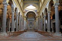 Naples; kościół Gerolamini: nave Zdjęcia Royalty Free