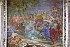 Naples; kyrka av Gerolamini: bestraffning av Ozia Arkivfoton